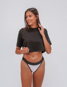 All Black G-String Thong - Bamboo Underwear