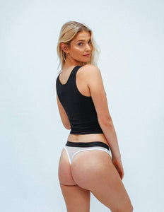 All Black Mesh Classic Thong - Bamboo Underwear