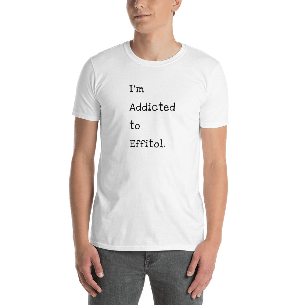 Men's Softstyle T-Shirt - 'I'm Addicted to Effitol' (grey, white)