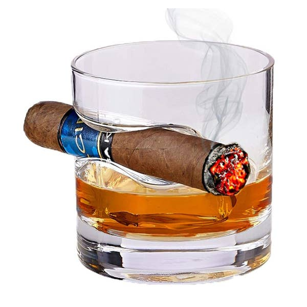 Bezrat Whiskey Glass with Cigar Holder