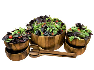 7 Piece Extra Large Salad Bowl with Servers & 4 Individuals