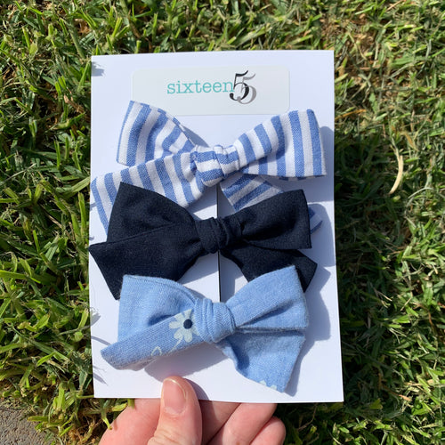 Bow Card - 3 Pack - Navy, Daisy & Stripe