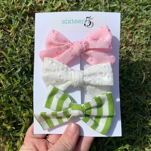 Bow Card - 3 Pack - White, Pink & Green Stripe