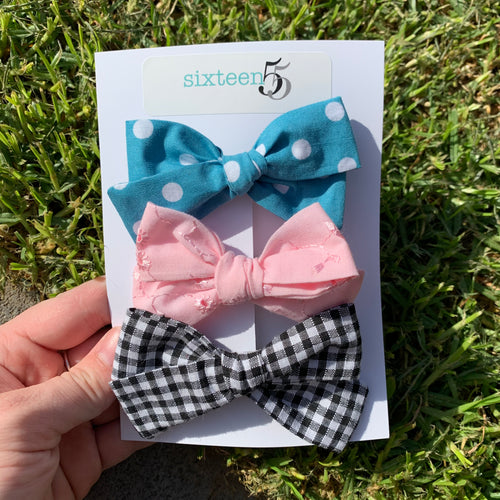 Bow Card - 3 Pack - Polka Dot, Pink & Check