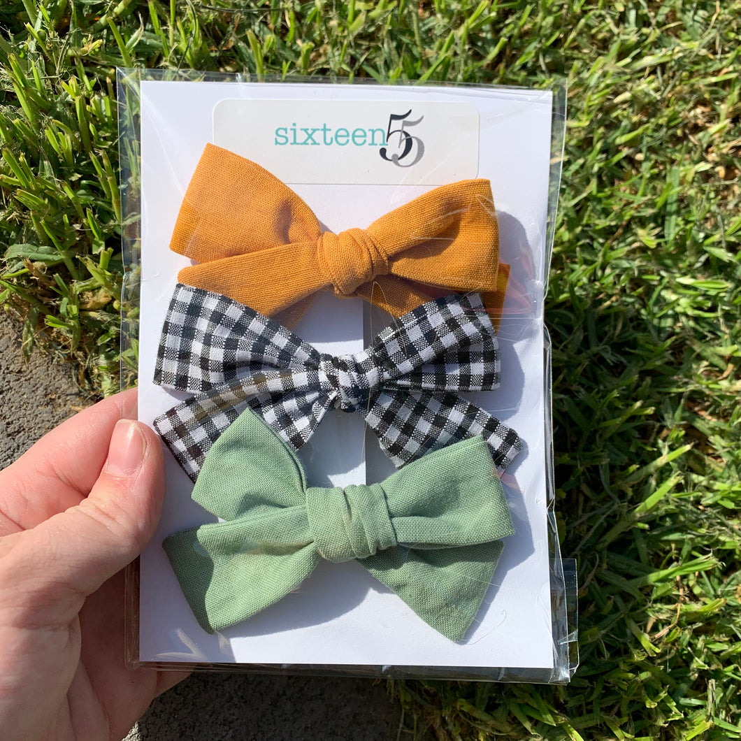 Bow Card - 3 Pack - Mustard, Sage & Black + White Check