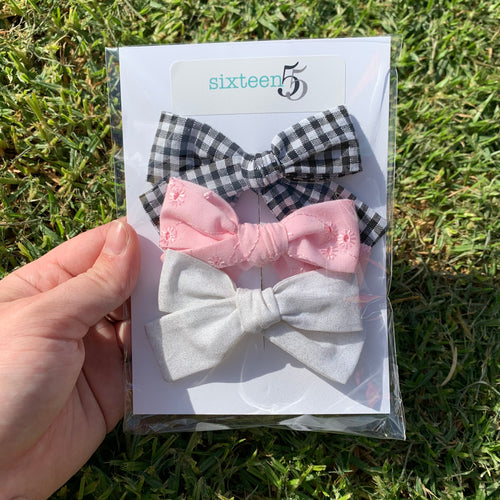 Bow Card - 3 Pack - Pink, White & Black + White Check