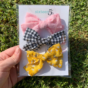 Bow Card - 3 Pack - Pink, Yellow Bees & Black + White Check
