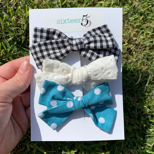 Bow Card - 3 Pack - Polka Dot, White & Black + White Check