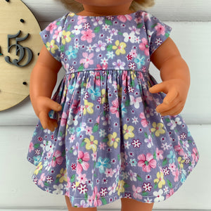 Miniland & Minikane 34 / 38 cm Purple Floral - 34 / 38 cm Dolls Dress