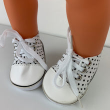 Load image into Gallery viewer, Black and White Spotty Sneakers - Dolls Shoes 38cm Miniland