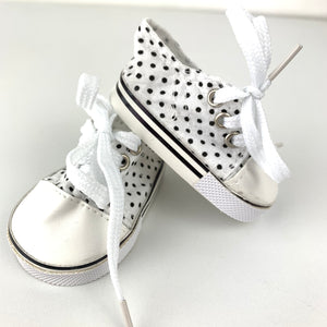 Black and White Spotty Sneakers - Dolls Shoes 38cm Miniland