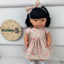 Load image into Gallery viewer, Miniland & Minikane 34 / 38 cm Pink & Green Floral Dolls Dress