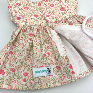 Miniland & Minikane 34 / 38 cm Pink & Green Floral Dolls Dress