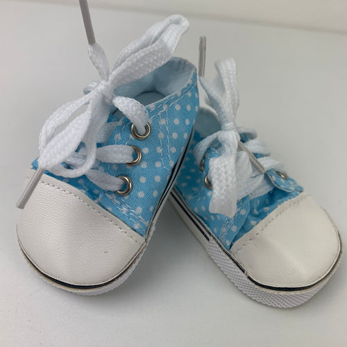 Blue and White Spotty Sneakers - Dolls Shoes 38cm Miniland
