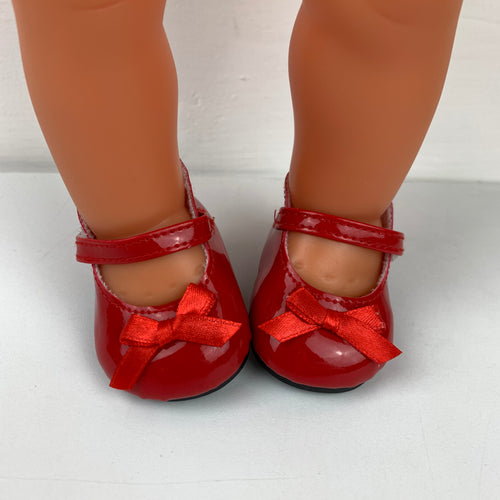 Red Gloss Doll Shoes - 38cm Miniland