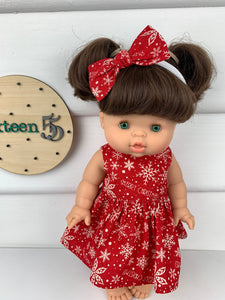 Red Snowflakes - 34 / 38 cm Miniland & Minikane Dolls Dress