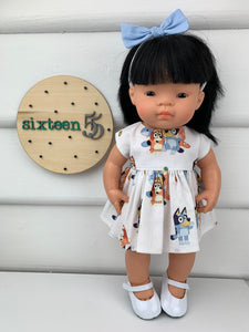 Bluey Dress  - 34 / 38 cm Miniland & Minikane Dolls Dress