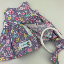 Load image into Gallery viewer, Miniland & Minikane 34 / 38 cm Sleeveless Purple Floral i Dolls Dress