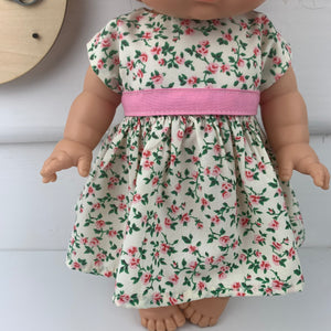 Miniland & Minikane 34 / 38cm Cream & Pink Roses  Dolls Dress