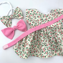 Load image into Gallery viewer, Miniland & Minikane 34 / 38cm Cream & Pink Roses  Dolls Dress