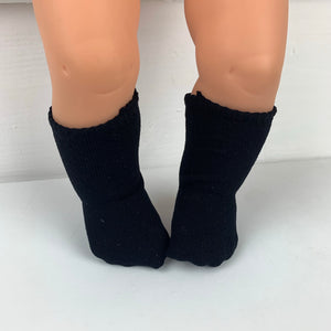 Black Socks - to suit Miniland 38cm