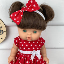 Load image into Gallery viewer, Red Stars - 34 / 38 cm Miniland & Minikane Dolls Dress
