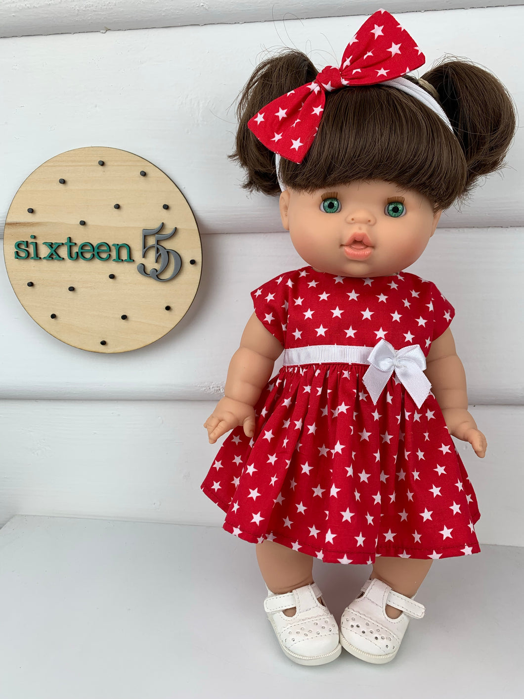 Red Stars - 34 / 38 cm Miniland & Minikane Dolls Dress