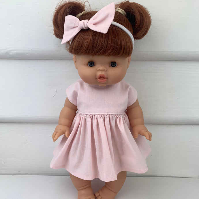 Miniland & Minikane 34 / 38 cm Pale Pink Dolls Dress