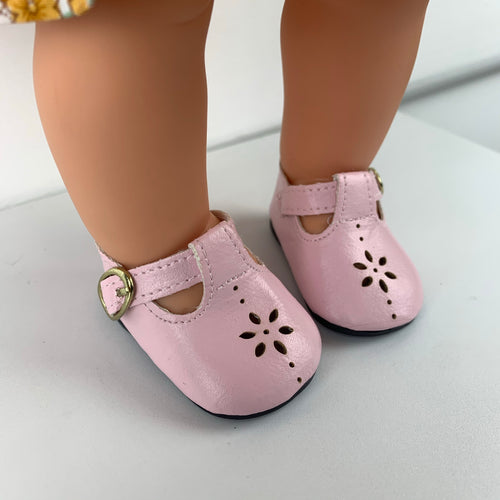 Pink Daisy Shoes - to fit 38cm Miniland Doll