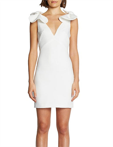 By Johnny- V Plunge white Bow Shoulder Dress