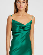Load image into Gallery viewer, Damsel + Silk- Core Cow Midi Dress Emerald