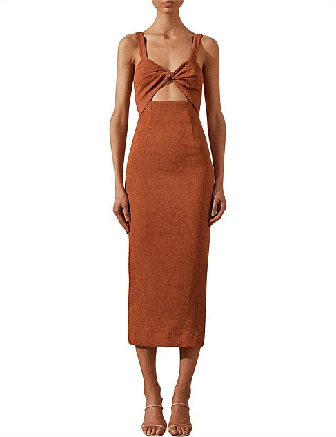 Shona Joy -Simone Fitted cut out Midi dress- Clay