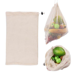 Organic Cotton String Vegetable Bags - Large