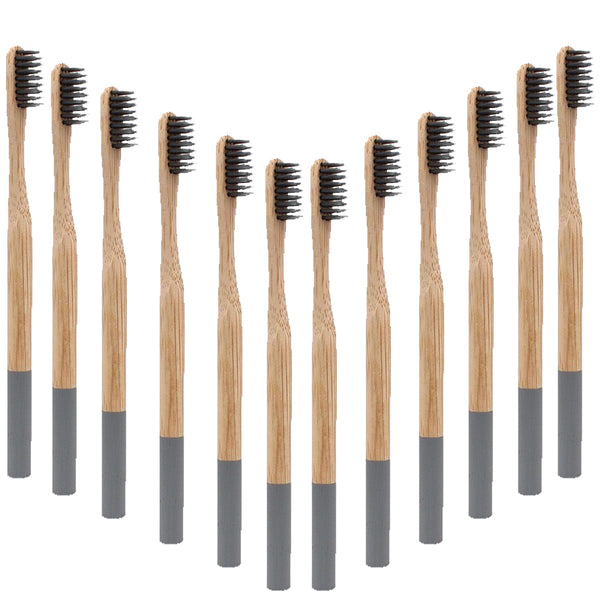 Premium Adult Bamboo Toothbrush - Soft Bristle (grey)