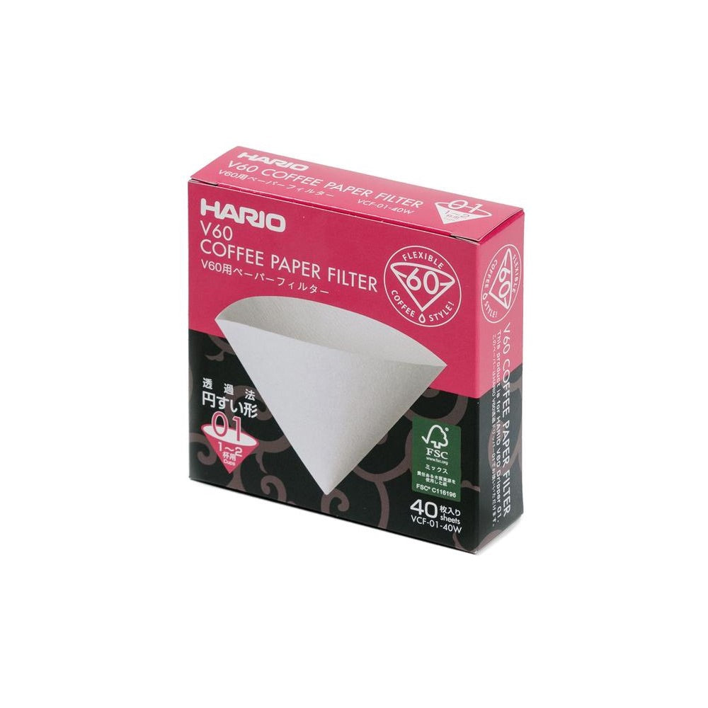 Hario V60-01 Filters, White - 40 Count