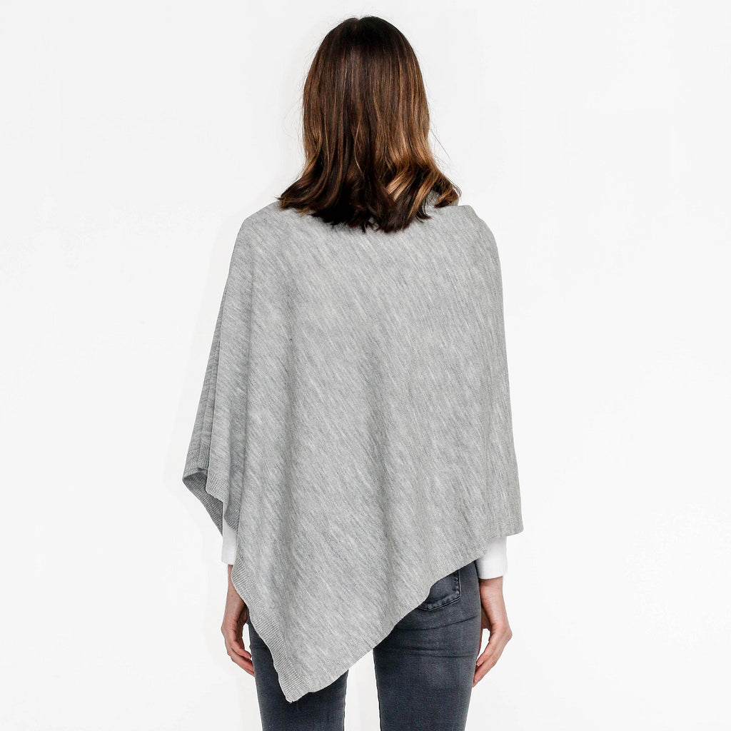 Zara Wool Poncho - Grey