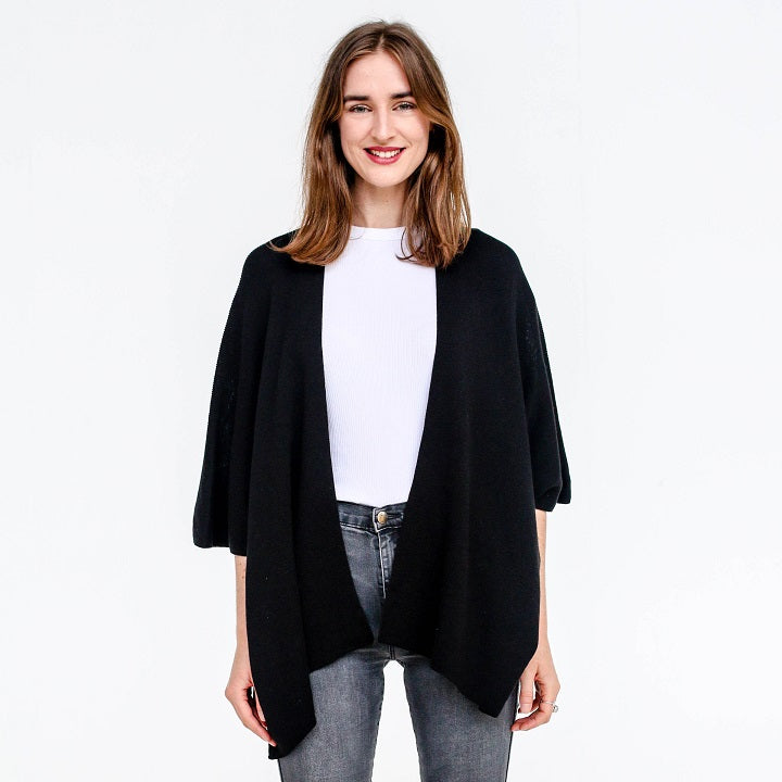 Clara Cotton Cape - Black