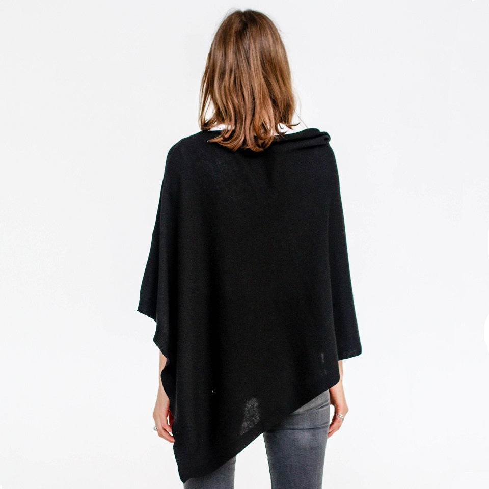 Alice Cotton Poncho - Black