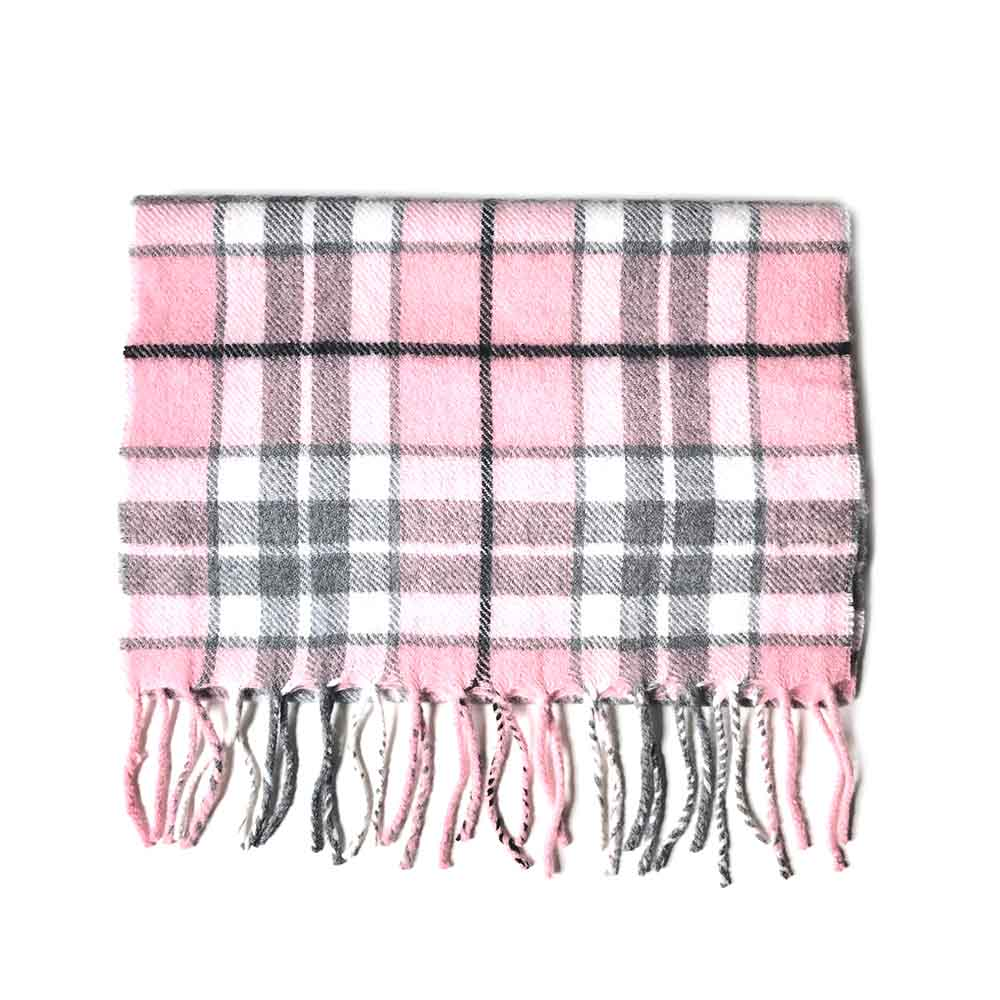 Check Wool Scarf - Pink