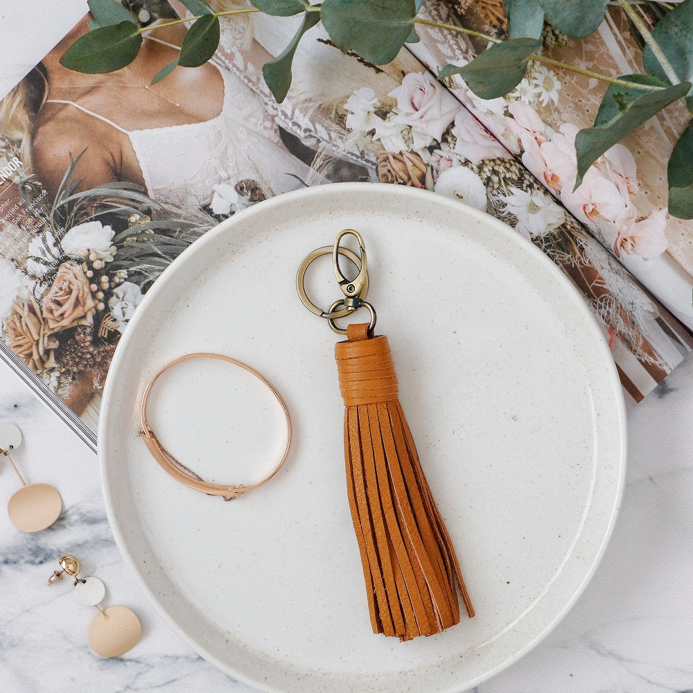 Nelly Tassel Keyring - Tan
