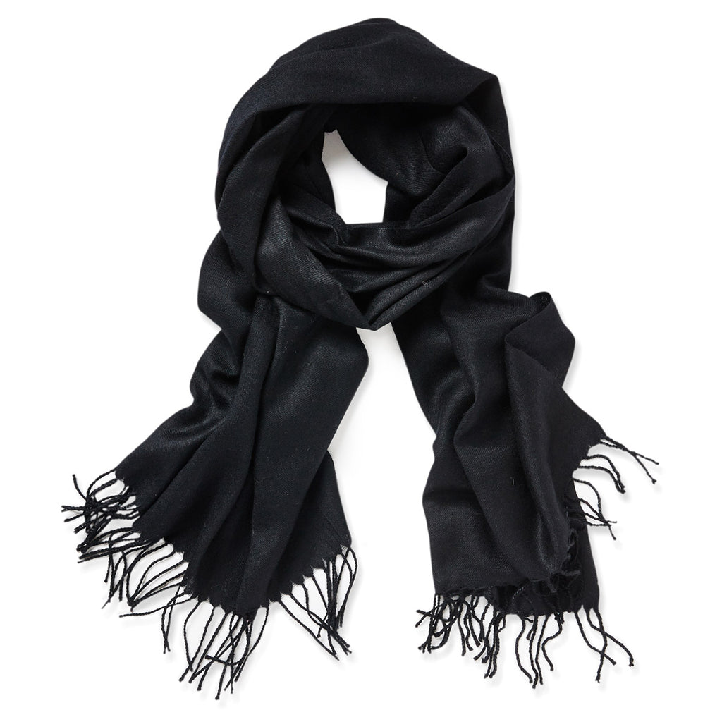 Plain Merino Wool Scarf - Black