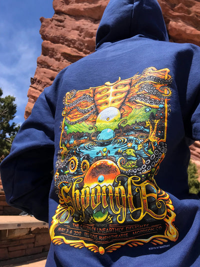 "Shpongle Red Rocks ""Garden of Unearthly Delights"" Blue Hoodie"