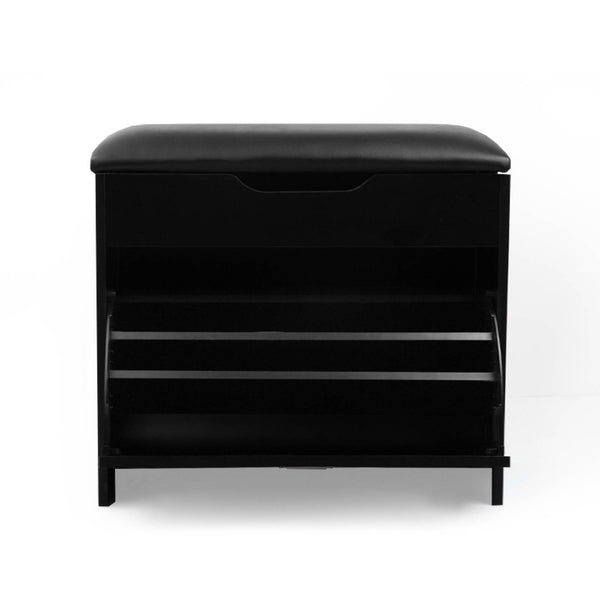 Artiss 3 Tier Shoe Cabinet Storage Stool Black