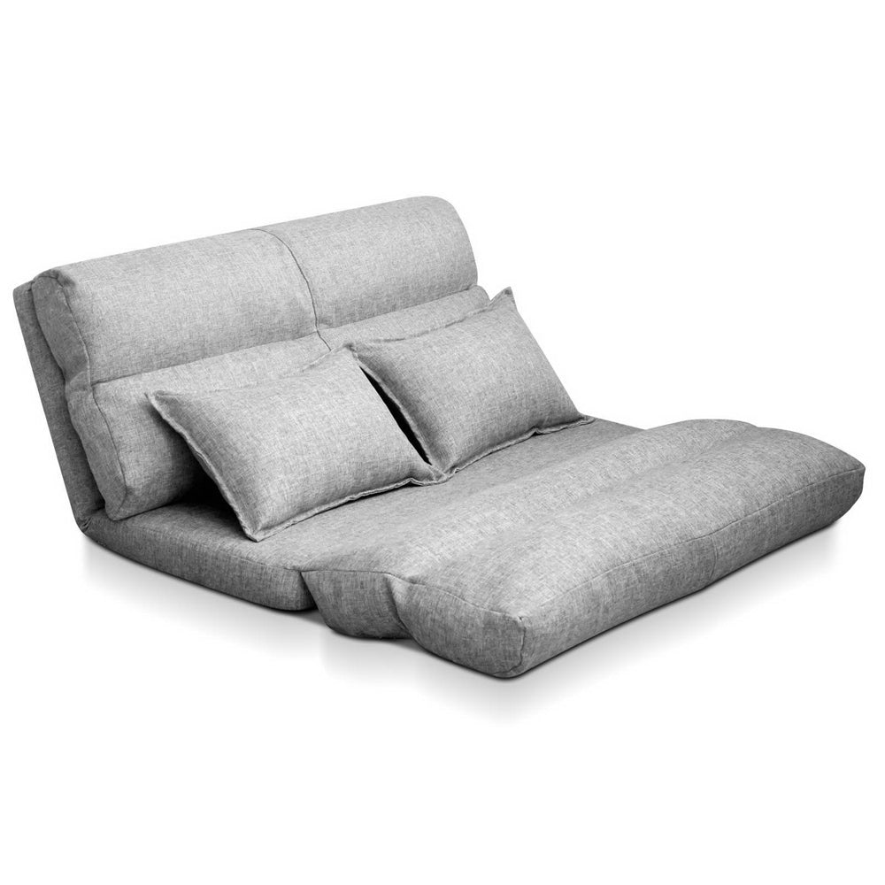 Artiss Lounge Sofa Bed Floor Recliner Chaise Folding Linen Farbric