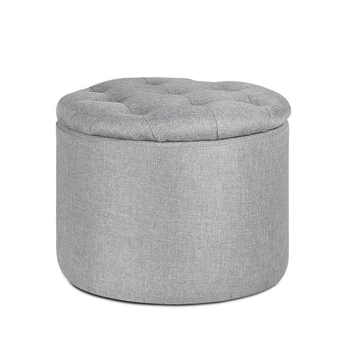 Artiss Pine Wood Ottoman Foot Stool with Storage - Light Grey