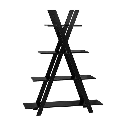 Artiss 4 Tier X Shape Ladder Shelf Display Book Shelves 150cm Black