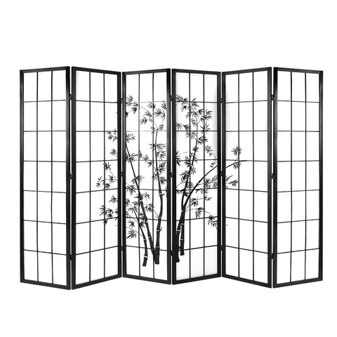 Artiss Room Divider 6 Panels Privacy Screen Patition Pine Wood Stand White Bamboo Patern
