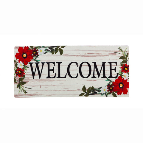 Sassafras Switch Mat Red Floral Welcome