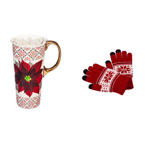 Ceramic Travel Cup, 17 OZ. ,w/ Tritan Lid and Glove Gift Set, Poinsettia and Sweater Pattern