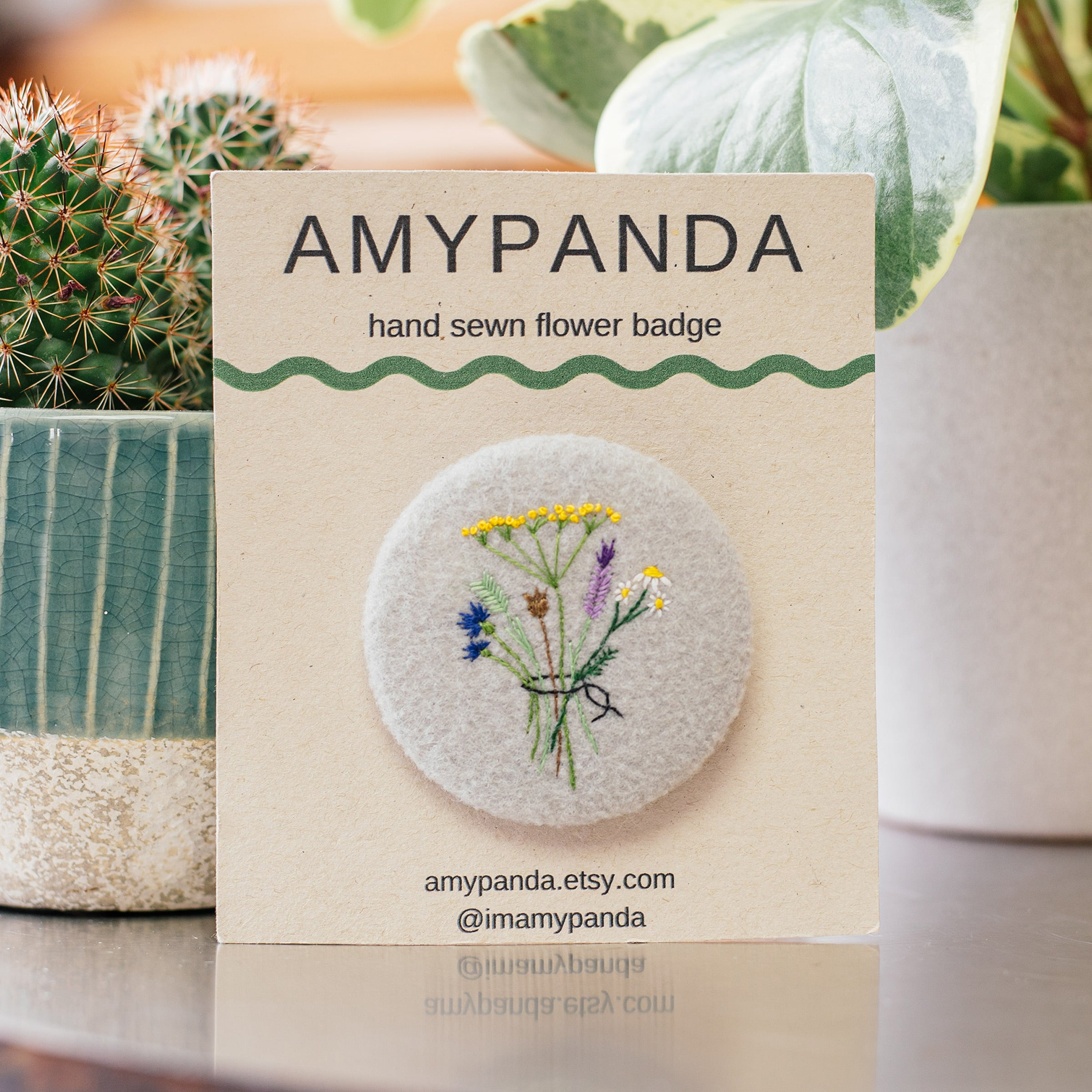 Amy Panda Large Hand Sewn Flower Badge — The Tetley Shop